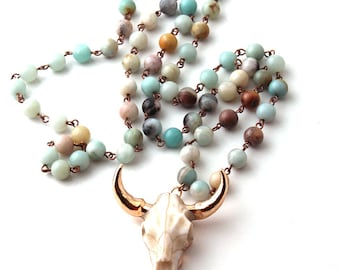 Amazonite Beads Tribal Horn Necklace - Bohemian Jewelry, Boho, Boho Chic, Horn Necklace, Amazonite Stone - # SC-P15