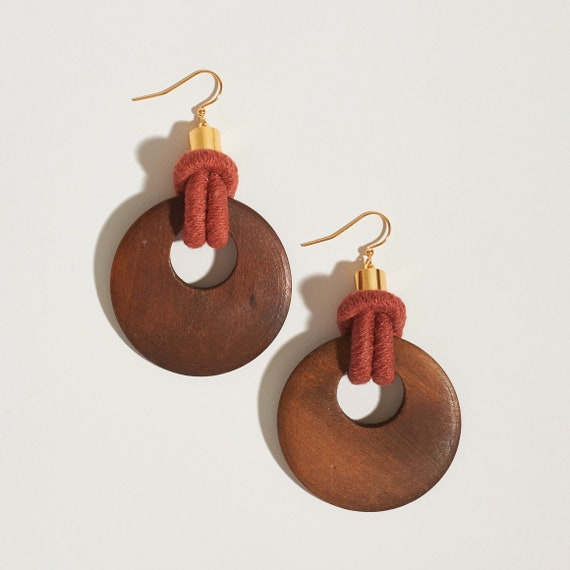 Wood Hoop + Yarn Earrings