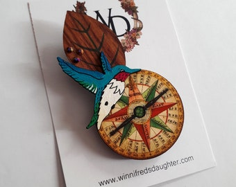 Find Your Way Wearable Art Brooch by Winnifreds Daughter