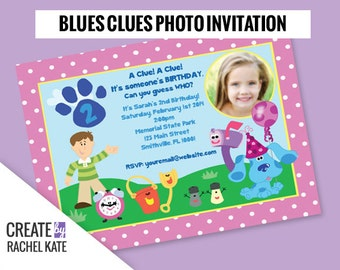 Blues Clues Birthday Party Personalized Photo Printable Invitation Invite (Blue, Pink or Custom)