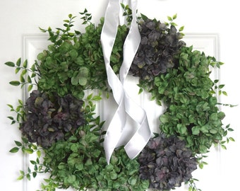 Spring Green Hydrangea Front Door Wreath
