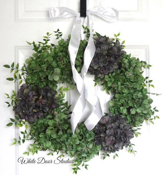 Spring Green Hydrangea Front Door Wreath