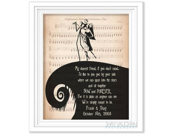 """The Nightmare Before Christmas Art Personalized Print With Names And Date Jack and Sally Quote """"My dearest friend""""  Wedding Engagement Gift"""