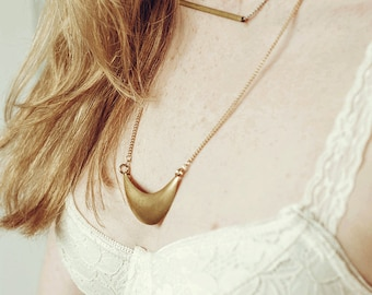 Long Chunky Brass Crescent Necklace