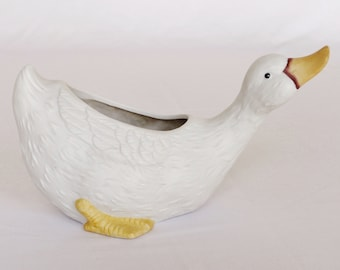 Vintage Ceramic White Duck Planter