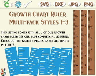 Growth Chart Ruler Stencil File Multi-Pack- SvG - DxF - PdF | DIY growth chart ruler sign | Growth Chart Ruler wall decal SVG