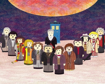 Doctor Who Greetings Card: 1st to 12th Doctors going to Gallifrey