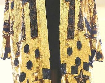 Fantastic gold and black sequins coat