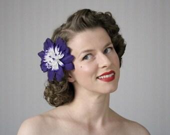 "Purple Hair Flower, 1950s Hair Accessory, Floral Headpiece, Vintage Hair Clip, Dark Purple Fascinator, Retro Dahlia - ""Midnight Masquerade"""