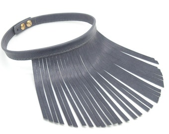 Grey leather fringe necklace, Grey fringe necklace, Grey leather choker