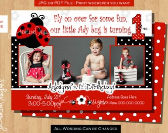 ladybug invitation Ladybug Birthday invitation lady bug birthday party ladybug party ladybug invite ladybug photo picture first birthday 1st