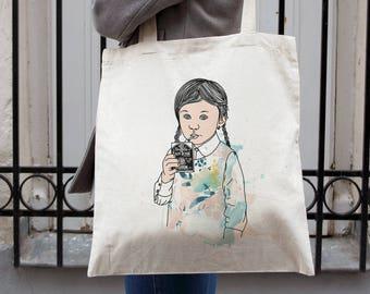Tote bag, sac illustration drôle, cadeau femme