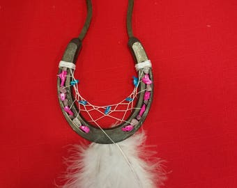 Pink and Blue Stone Horseshoe Dream Catcher