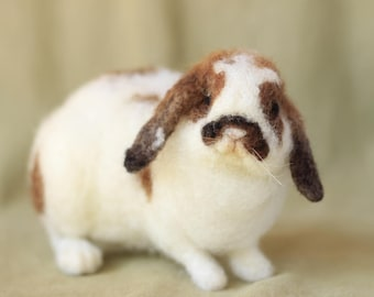 Made to order needle felted lop bunny rabbit, custom made felted animal, memorial of your pet, 11-12 month turnaround time
