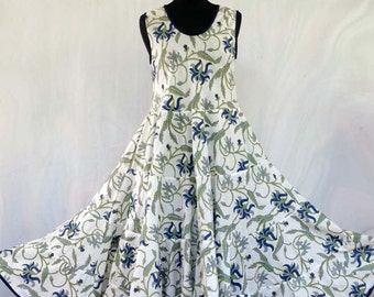 White with large blue orchids, sleeveless, with scarf baby dress