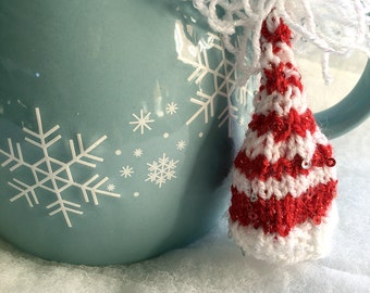 Miniature Knit Elf Hat- Red and White- Candy Cane- Sequinned Yarn- Holiday Decoration- Doll, Small Pet- Made To Order