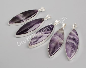925 Sterling Silver, Silver Pendant,Marquise Pendant,Natural Amethyst Pendant,Purple Pendant,JD103-SS