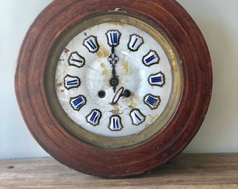 Antique Vintage French Wall Clock with original Enamel Face and Numbers