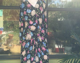 80s John Roberts Floral Party Dress