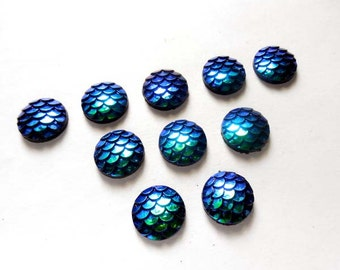 10 Blue AB Resin Mermaid Scale Cabochons 12mm - 20A-8
