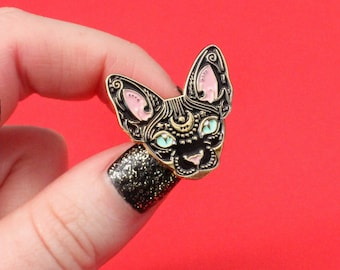 Mystical Sphynx cat enamel pin - BLACK & GOLD - hairless cat - cat pin - cat gift - magical cat - mystic cat - pin badge - flair - lapel pin