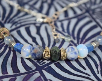 Blue Moon sterling silver aromatherapy necklace- gemstone