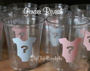 24 gender reveal onsie 10,12 or 16 oz. clear disposable cup. Baby Shower, sprinkle party, boy or girl,  Team Pink, vinyl sticker. C-177