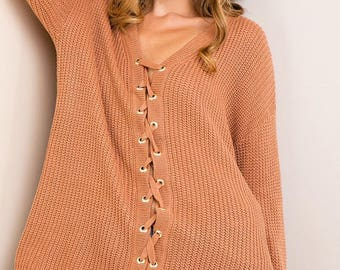 Solid Lace-Up Sweater!