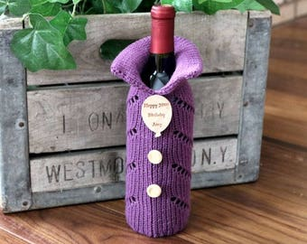 Knitted Wine Bottle Gift Bag, Wine Bottle Gift Bag, Wine Bottle Cozie, Wine Bottle Cover, Gift Bags, Wine Bottle Sweater, Birthday Gift Bag