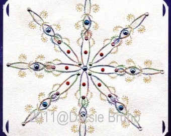 Winter Crystal Snowflake Paper Embroidery Pattern for Greeting Cards