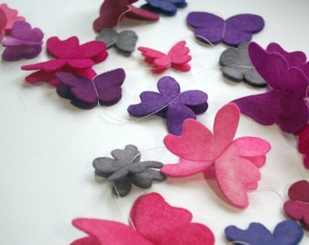 Floating Butterfly Banner:  Wool Felt Butterflies, Hand Dyed Garland for Nursery, Birthday or Playroom (Pink & Purple)
