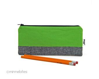 Green Pencil Case - Toiletry Kit - Zipper Pouch - Mens Office Organizer - Guys Pencil Bag - Wallet - Receipt Holder - Ready to Ship