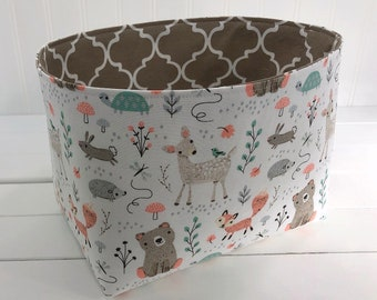 Woodland Nursery Storage Basket Fox Nursery Decor Home Decor Woodland Room Decor Baby Shower Gift Animals Mint Beige Deer Bears Fox Fawn