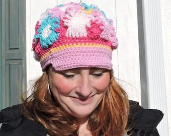 Crochet Flower Power Hat Pattern- Adult size, Crochet Flower Hat, Beginner to Interdmediate Pattern