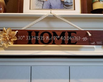 Hanging Wooden HOME Sign