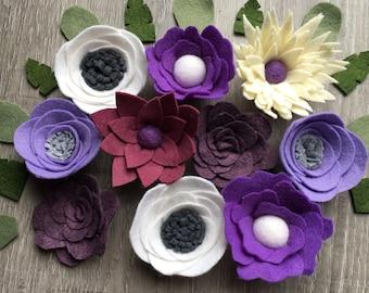 Loose Felt Flowers, Wool Felt Flowers, Felt flower Decor, Purple Nursery Flowers,