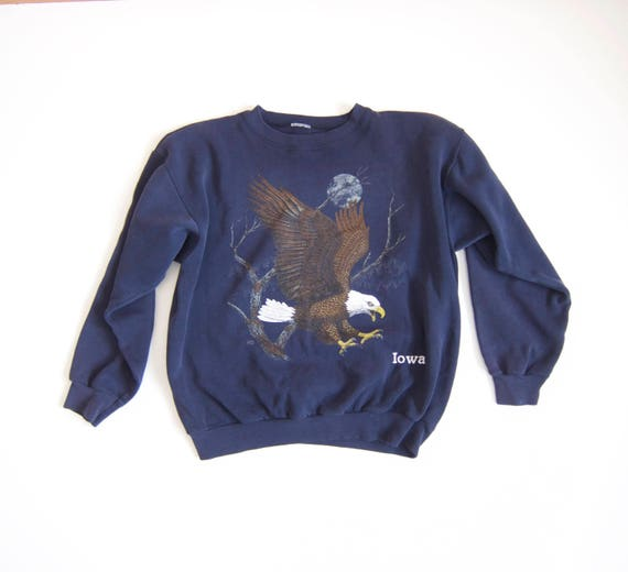 Vintage Eagle Sweatshirt | IOWA Sweatshirt| Navy Blue Patriotic Americana Sweater Grunge Trucker Hipster Nature Outdoorsman Top Large XL
