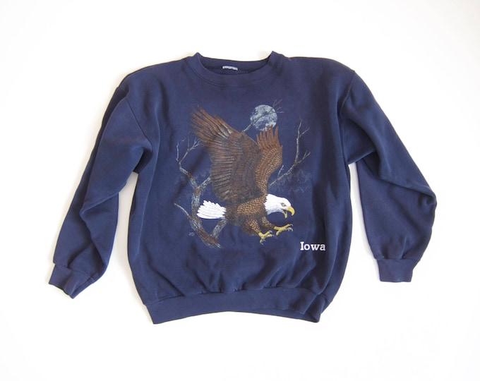 Vintage Eagle Sweatshirt   IOWA Sweatshirt  Navy Blue Patriotic Americana Sweater Grunge Trucker Hipster Nature Outdoorsman Top Large XL