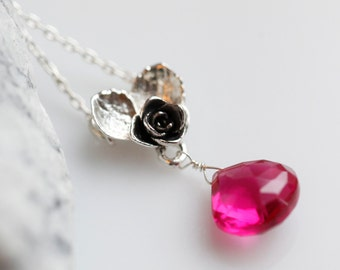 Sweet Valentine pendant, sterling silver rose heart jewelry with vivid fuchsia drop