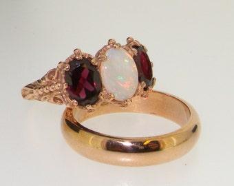 Bridal Ring Sets, 9K Rose Gold Natural Colorful Opal & Rhodalite Garnet Engagement Ring with Wedding Band Set, English Vintage Design Ring