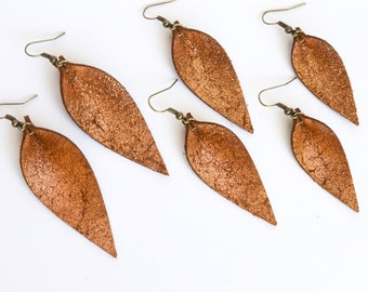 Leather Leaf Earrings in  Vintage Copper --Small, Medium, or Large // Leaf Earrings