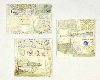 Collage * set of three * OOAK * art * collage * mixed media * home decor
