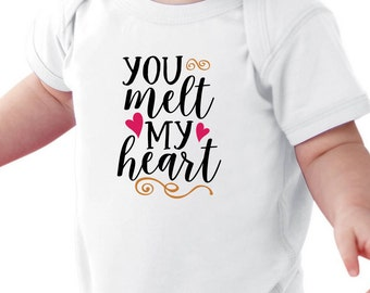 You Melt my Heart Onesie - Body Suit - Baby Shower  Unique gift Infant Boy Girl  - Cute Boys Girls Outfit Onesies