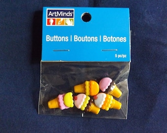 5PC Ice Cream Cones Buttons and Embellishments - Art Minds