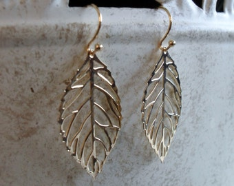 DELICATE Gold  FILIGREE LEAF Earrings  // Gift For Her  // Organic // Light Weight // Leaf jewelry // Fall Earrings // Gift boxed