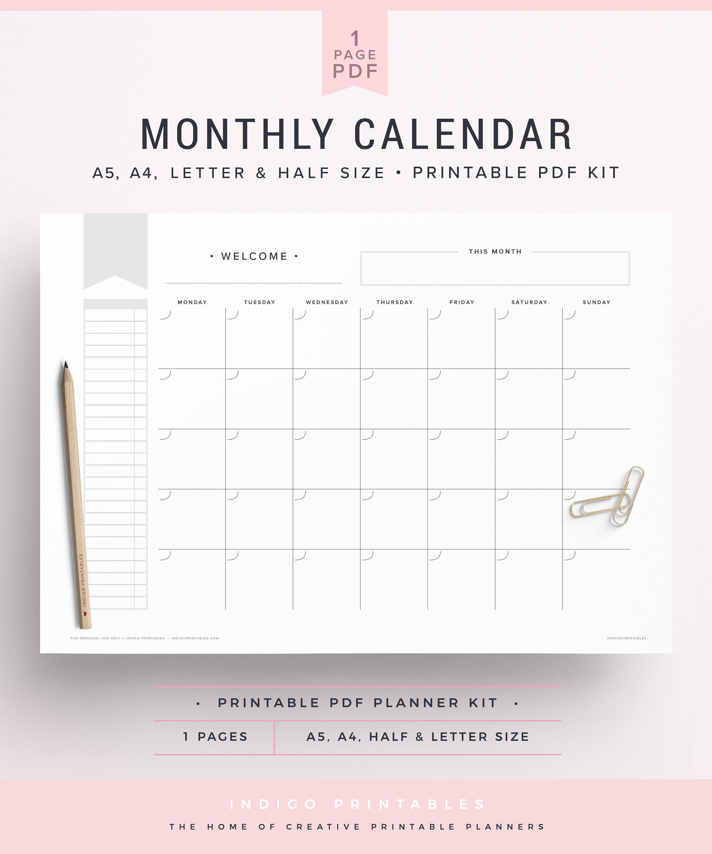 Undated Weekly Calendar : Monthly calendar undated half size blank