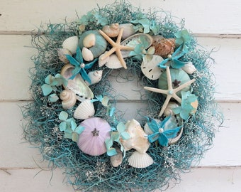 Classic Seashell Wreath in Aquamarine & Ivory w/ Starfish, Sea Urchins, Sand Dollars,Nautical Decor, Beach Wreath
