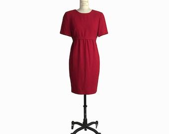 Vintage 90s Cherry Red Dress / Empire Waist Dress / Short Sleeve Dress / 90s Clueless Dress - women's medium petite