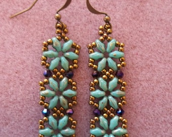 Hexagon Duo Earrings PDF Bead Weaving Tutorial (INSTANT DOWNLOAD)