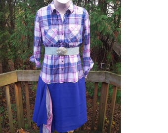 Blouse Dress - Blue and Pink - Classic Plaid - Upcylced Couture - Upcycled Fashion - Drop Waist Dress - Day Dress